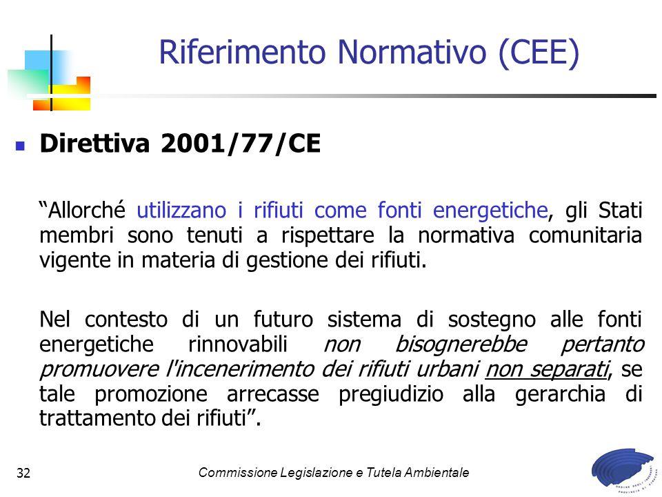 Commissione Legislazione e Tutela Ambientale32 Riferimento Normativo (CEE) Direttiva 2001/77/CE Allorché utilizzano i rifiuti come fonti energetiche,