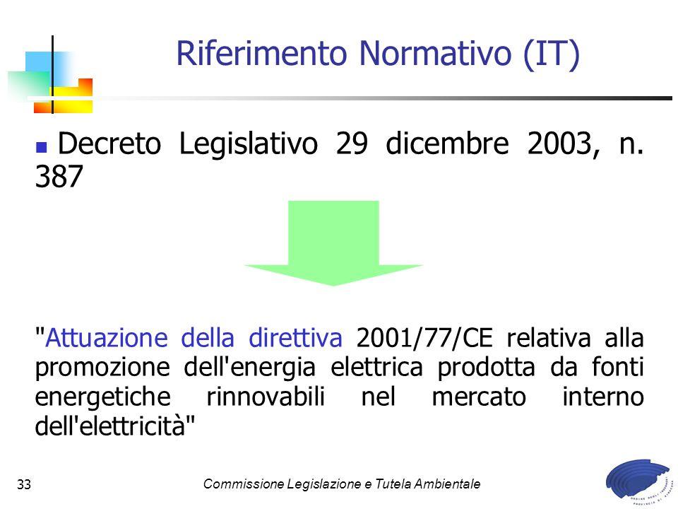 Commissione Legislazione e Tutela Ambientale33 Decreto Legislativo 29 dicembre 2003, n. 387