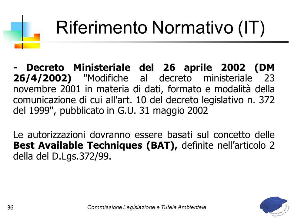 Commissione Legislazione e Tutela Ambientale36 - Decreto Ministeriale del 26 aprile 2002 (DM 26/4/2002)