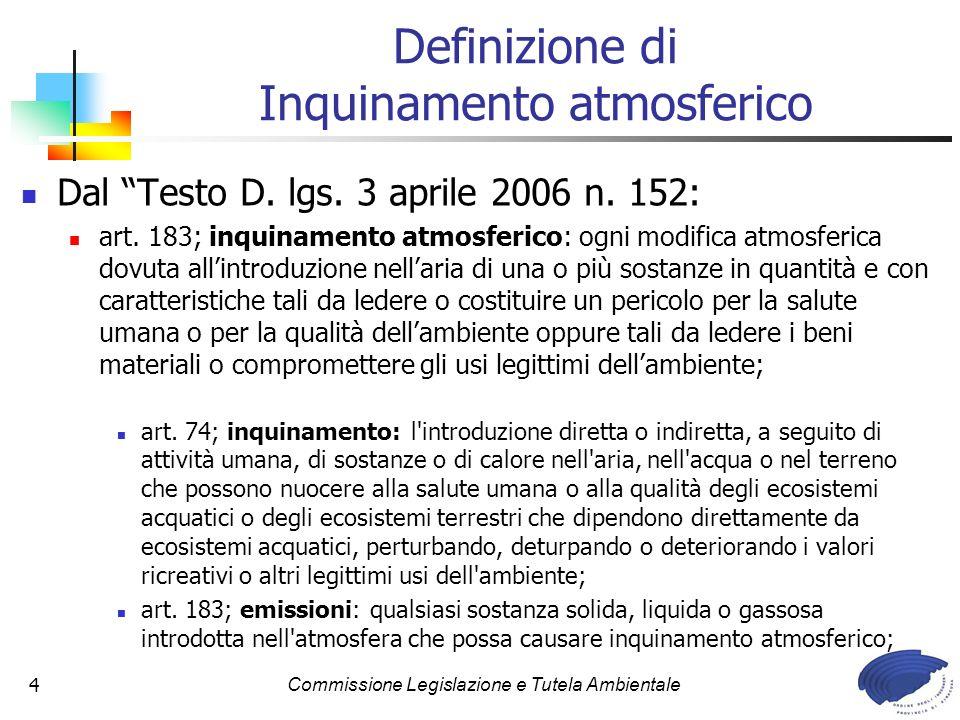 Commissione Legislazione e Tutela Ambientale4 Definizione di Inquinamento atmosferico Dal Testo D. lgs. 3 aprile 2006 n. 152: art. 183; inquinamento a