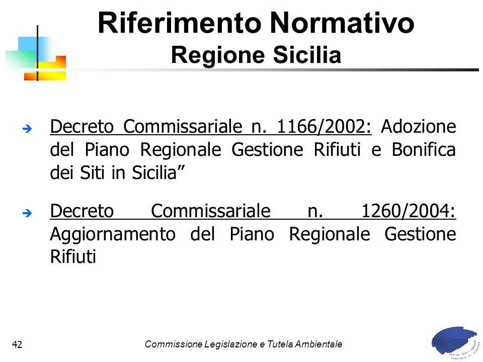 Commissione Legislazione e Tutela Ambientale42 Decreto Commissariale n. 1166/2002: Adozione del Piano Regionale Gestione Rifiuti e Bonifica dei Siti i
