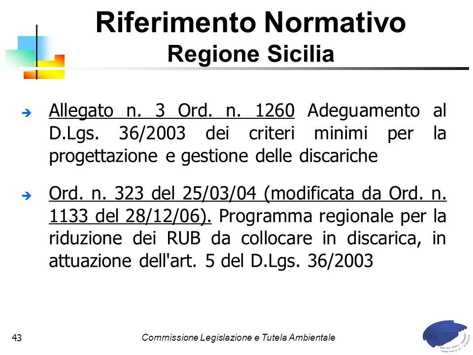 Commissione Legislazione e Tutela Ambientale43 Allegato n. 3 Ord. n. 1260 Adeguamento al D.Lgs. 36/2003 dei criteri minimi per la progettazione e gest