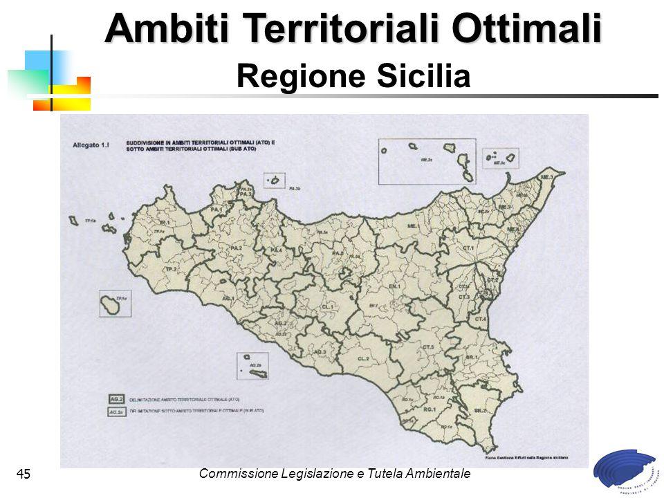 Commissione Legislazione e Tutela Ambientale45 Ambiti Territoriali Ottimali Regione Sicilia