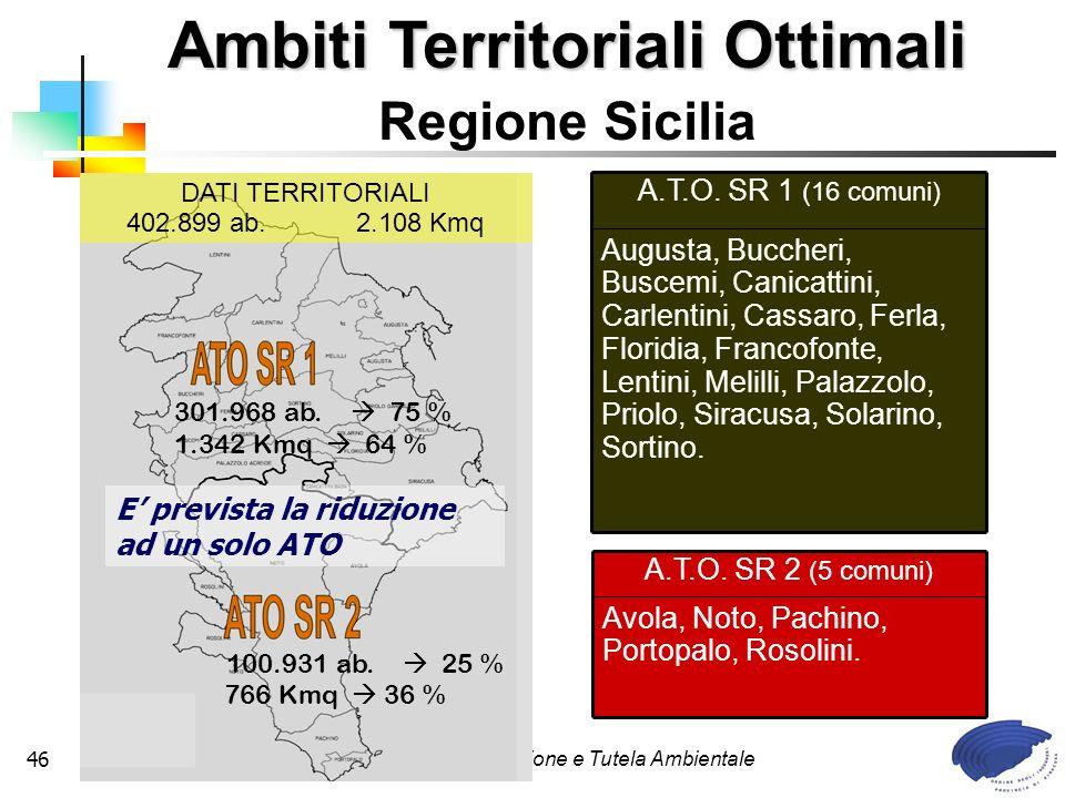 Commissione Legislazione e Tutela Ambientale46 A.T.O. SR 2 (5 comuni) Avola, Noto, Pachino, Portopalo, Rosolini. A.T.O. SR 1 (16 comuni) Augusta, Bucc