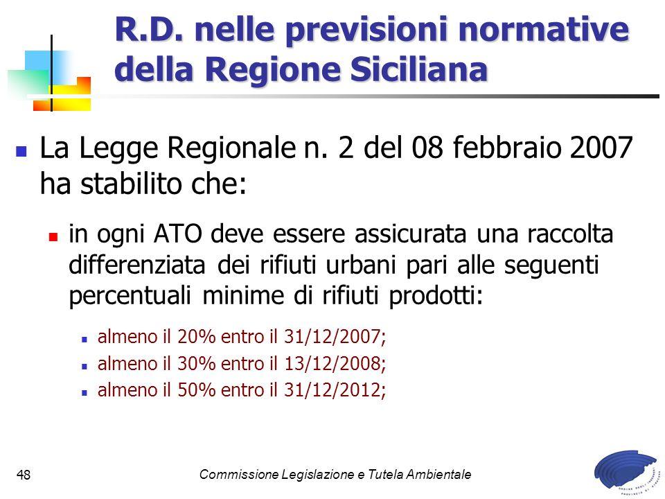 Commissione Legislazione e Tutela Ambientale48 La Legge Regionale n. 2 del 08 febbraio 2007 ha stabilito che: in ogni ATO deve essere assicurata una r