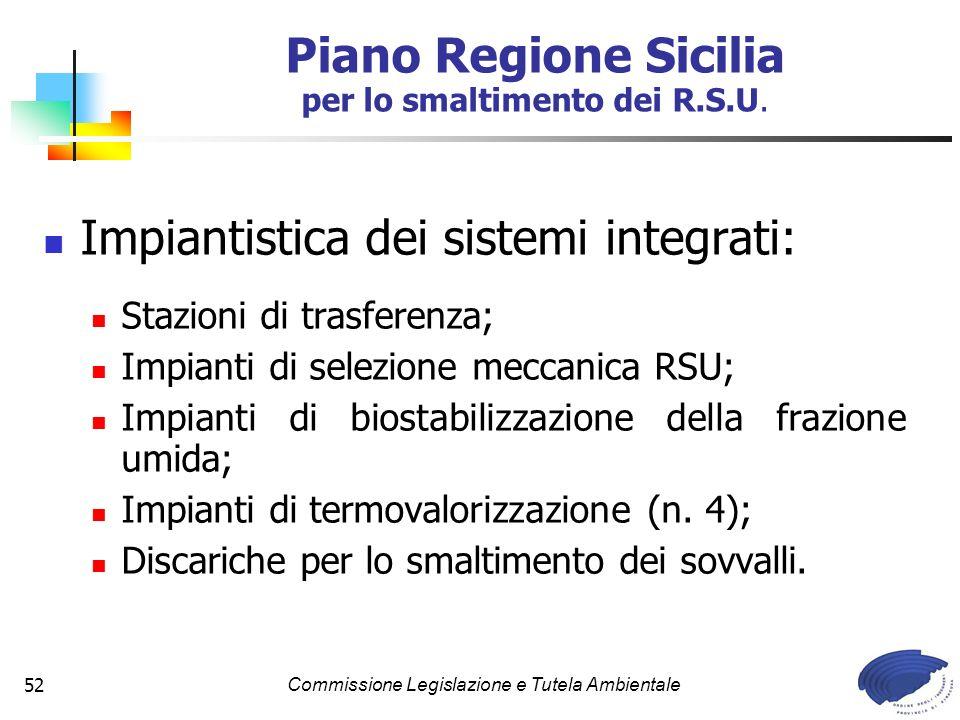 Commissione Legislazione e Tutela Ambientale52 Impiantistica dei sistemi integrati: Stazioni di trasferenza; Impianti di selezione meccanica RSU; Impianti di biostabilizzazione della frazione umida; Impianti di termovalorizzazione (n.