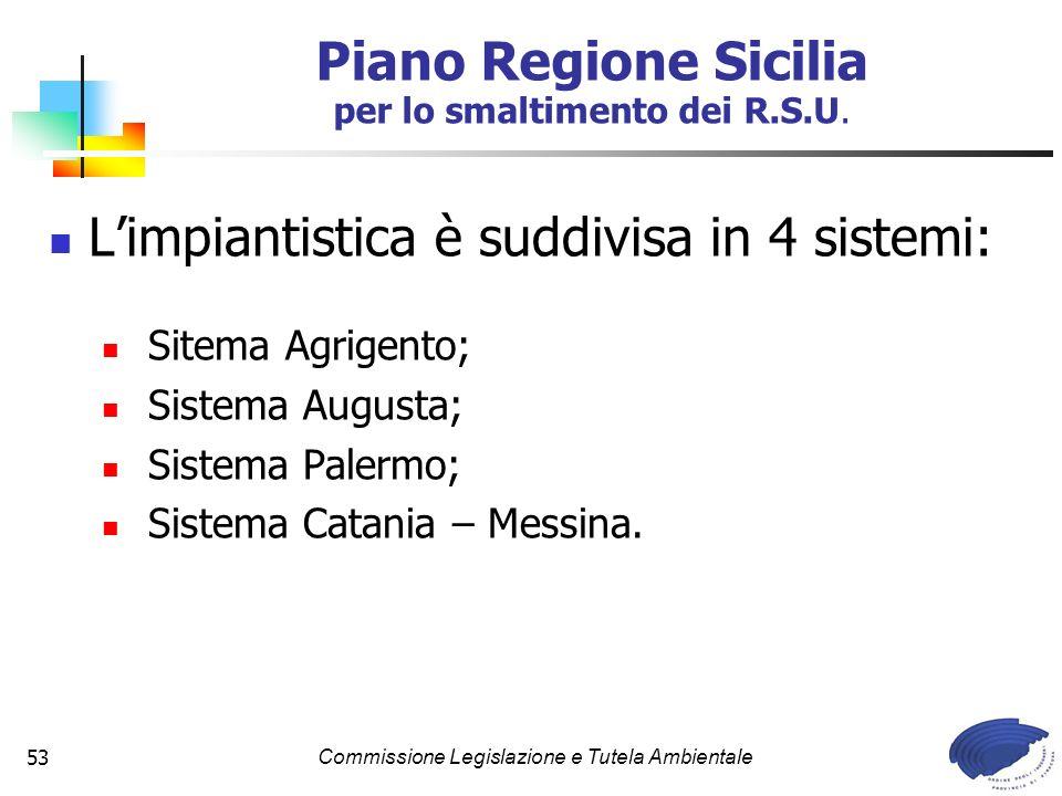 Commissione Legislazione e Tutela Ambientale53 Limpiantistica è suddivisa in 4 sistemi: Sitema Agrigento; Sistema Augusta; Sistema Palermo; Sistema Ca
