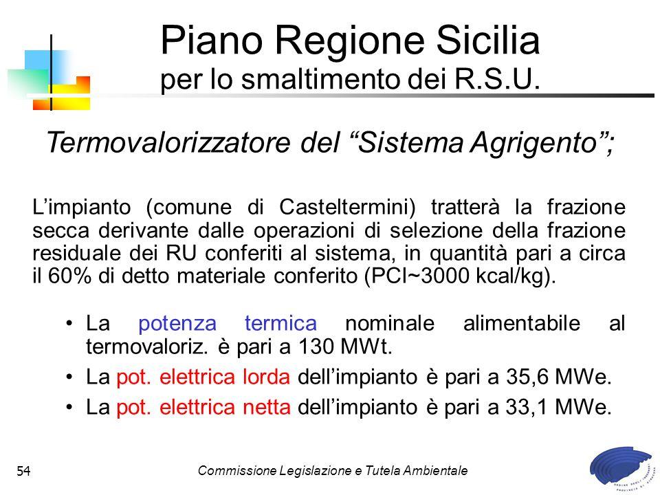 Commissione Legislazione e Tutela Ambientale54 Termovalorizzatore del Sistema Agrigento; Limpianto (comune di Casteltermini) tratterà la frazione secc