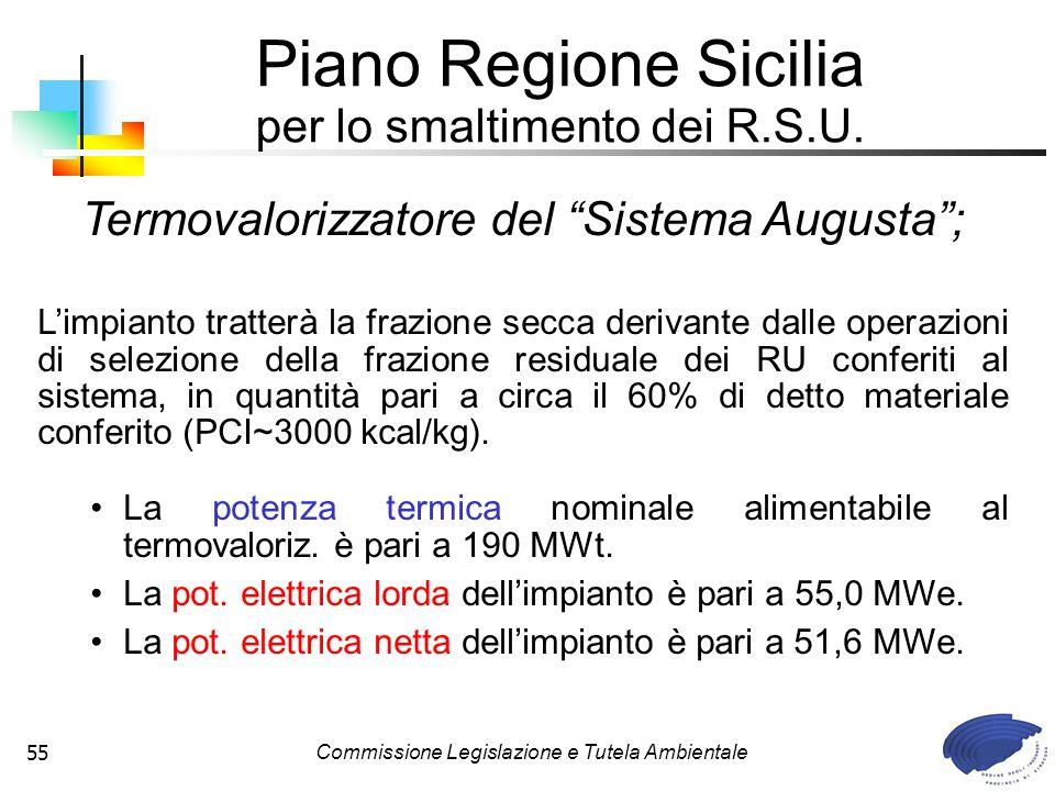 Commissione Legislazione e Tutela Ambientale55 Piano Regione Sicilia per lo smaltimento dei R.S.U. Termovalorizzatore del Sistema Augusta; Limpianto t