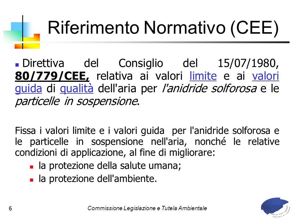 Commissione Legislazione e Tutela Ambientale6 Riferimento Normativo (CEE) Direttiva del Consiglio del 15/07/1980, 80/779/CEE, relativa ai valori limite e ai valori guida di qualità dell aria per l anidride solforosa e le particelle in sospensione.