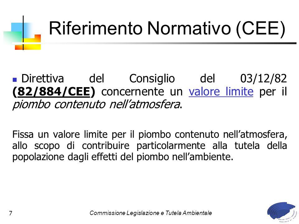 Commissione Legislazione e Tutela Ambientale7 Direttiva del Consiglio del 03/12/82 (82/884/CEE) concernente un valore limite per il piombo contenuto nellatmosfera.