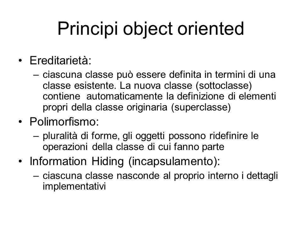 Principi object oriented Ereditarietà: –ciascuna classe può essere definita in termini di una classe esistente. La nuova classe (sottoclasse) contiene