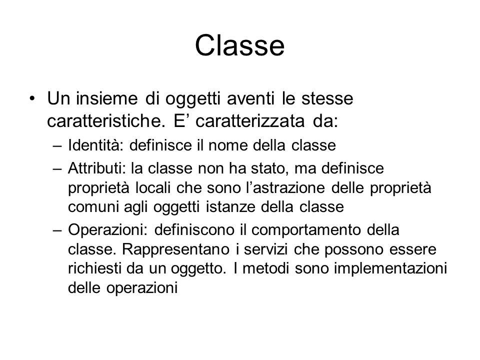 Classe Un insieme di oggetti aventi le stesse caratteristiche. E caratterizzata da: –Identità: definisce il nome della classe –Attributi: la classe no