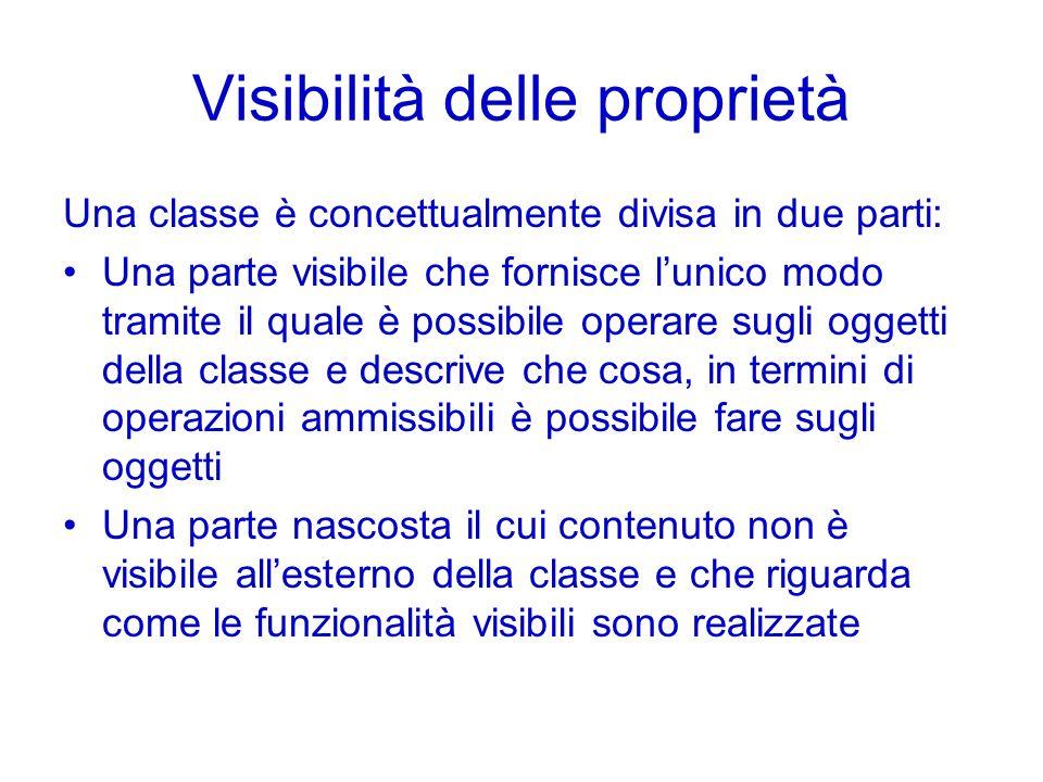 Visibilità delle proprietà Una classe è concettualmente divisa in due parti: Una parte visibile che fornisce lunico modo tramite il quale è possibile