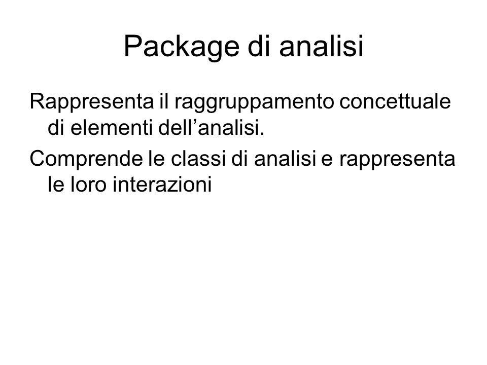 Package di analisi Rappresenta il raggruppamento concettuale di elementi dellanalisi. Comprende le classi di analisi e rappresenta le loro interazioni