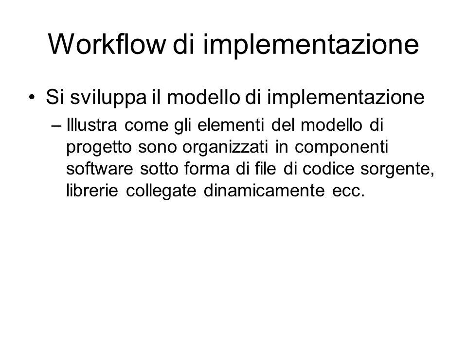 Workflow di implementazione Si sviluppa il modello di implementazione –Illustra come gli elementi del modello di progetto sono organizzati in componen