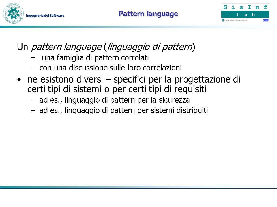 Ingegneria del Software Pattern language Un pattern language (linguaggio di pattern) – una famiglia di pattern correlati –con una discussione sulle lo