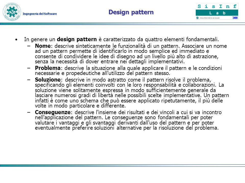 Ingegneria del Software Design pattern In genere un design pattern è caratterizzato da quattro elementi fondamentali. –Nome: descrive sinteticamente l