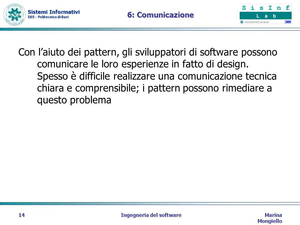 Sistemi Informativi DEE - Politecnico di Bari Marina Mongiello Ingegneria del software14 6: Comunicazione Con laiuto dei pattern, gli sviluppatori di software possono comunicare le loro esperienze in fatto di design.