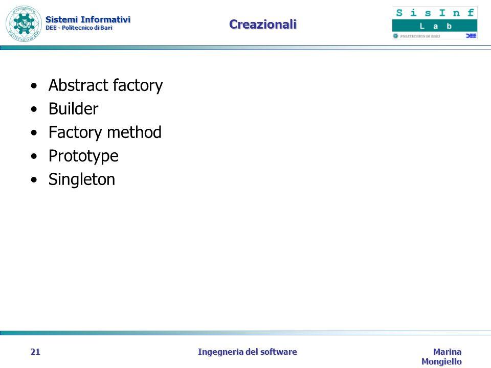 Sistemi Informativi DEE - Politecnico di Bari Marina Mongiello Ingegneria del software21 Creazionali Abstract factory Builder Factory method Prototype Singleton