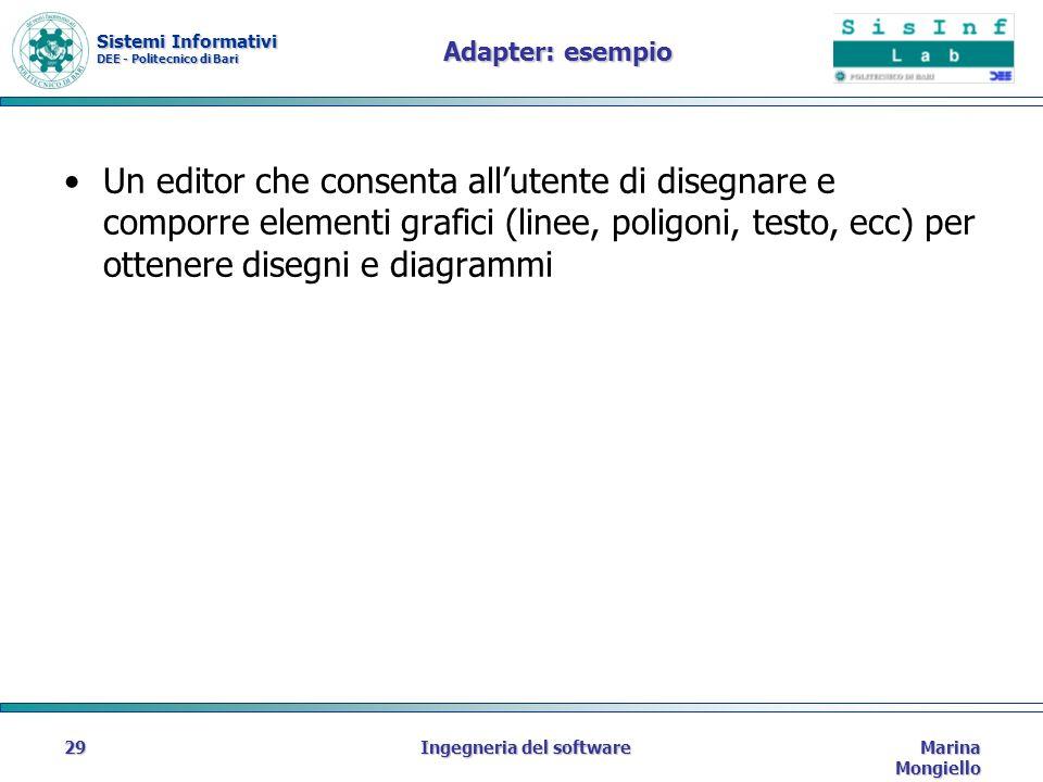 Sistemi Informativi DEE - Politecnico di Bari Marina Mongiello Ingegneria del software29 Adapter: esempio Un editor che consenta allutente di disegnare e comporre elementi grafici (linee, poligoni, testo, ecc) per ottenere disegni e diagrammi