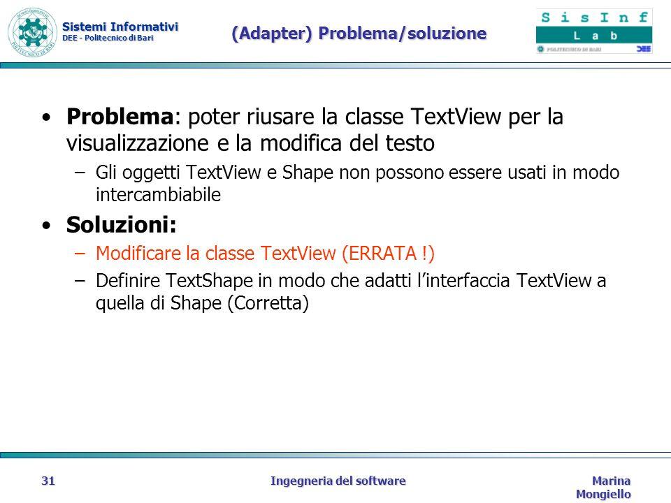 Sistemi Informativi DEE - Politecnico di Bari Marina Mongiello Ingegneria del software31 (Adapter) Problema/soluzione Problema: poter riusare la classe TextView per la visualizzazione e la modifica del testo –Gli oggetti TextView e Shape non possono essere usati in modo intercambiabile Soluzioni: –Modificare la classe TextView (ERRATA !) –Definire TextShape in modo che adatti linterfaccia TextView a quella di Shape (Corretta)