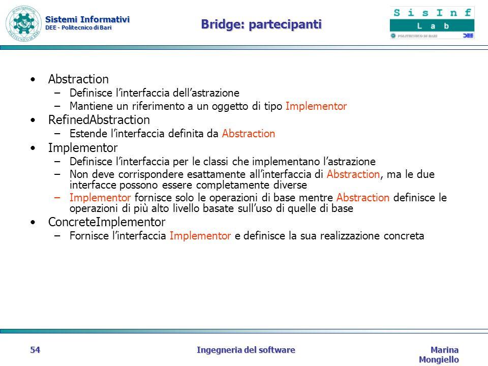 Sistemi Informativi DEE - Politecnico di Bari Marina Mongiello Ingegneria del software54 Bridge: partecipanti Abstraction –Definisce linterfaccia dellastrazione –Mantiene un riferimento a un oggetto di tipo Implementor RefinedAbstraction –Estende linterfaccia definita da Abstraction Implementor –Definisce linterfaccia per le classi che implementano lastrazione –Non deve corrispondere esattamente allinterfaccia di Abstraction, ma le due interfacce possono essere completamente diverse –Implementor fornisce solo le operazioni di base mentre Abstraction definisce le operazioni di più alto livello basate sulluso di quelle di base ConcreteImplementor –Fornisce linterfaccia Implementor e definisce la sua realizzazione concreta