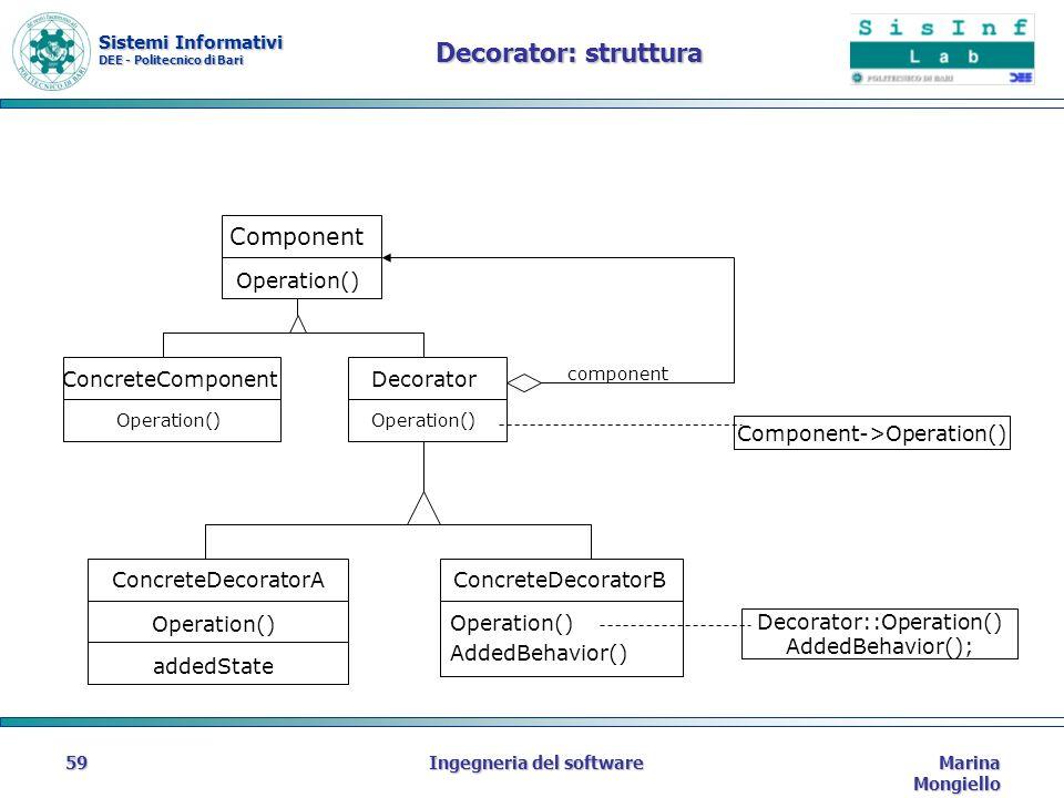 Sistemi Informativi DEE - Politecnico di Bari Marina Mongiello Ingegneria del software59 Decorator: struttura Component Operation() ConcreteComponent