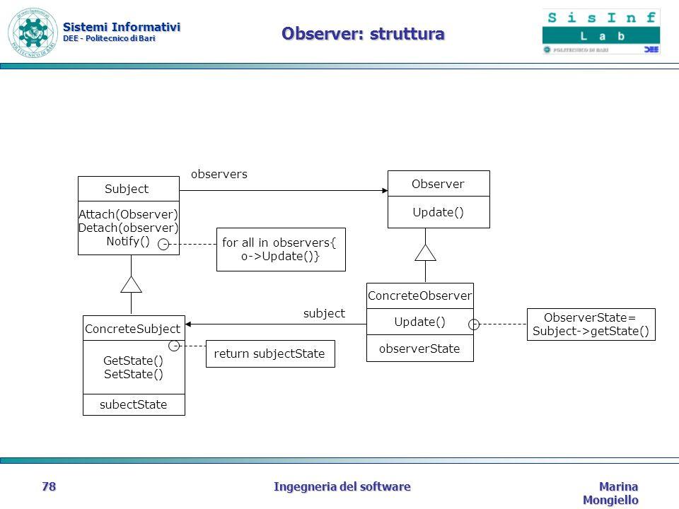 Sistemi Informativi DEE - Politecnico di Bari Marina Mongiello Ingegneria del software78 Observer: struttura Attach(Observer) Detach(observer) Notify(