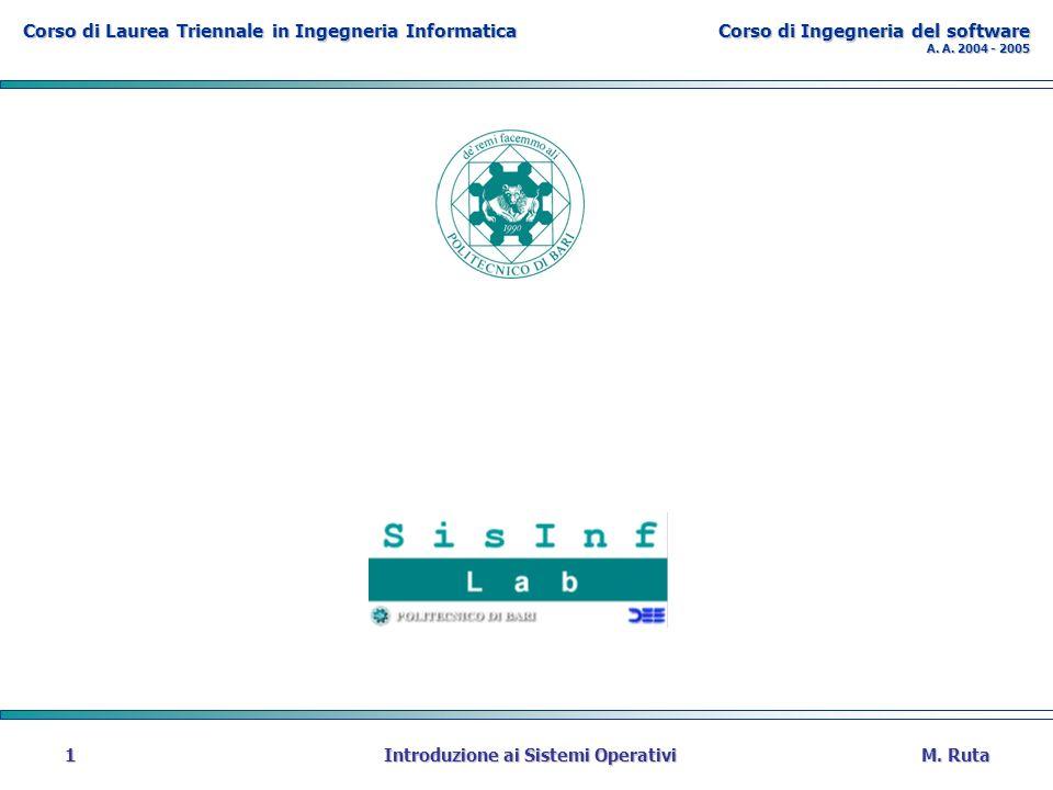Corso di Laurea Triennale in Ingegneria Informatica Corso di Ingegneria del software A. A. 2004 - 2005 M. Ruta Introduzione ai Sistemi Operativi 1