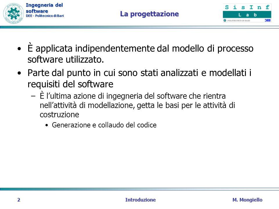 Ingegneria del software DEE - Politecnico di Bari La progettazione È applicata indipendentemente dal modello di processo software utilizzato. Parte da