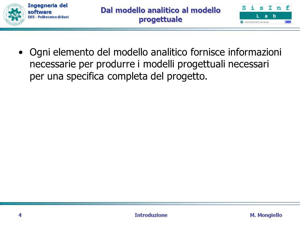 Ingegneria del software DEE - Politecnico di Bari Dal modello analitico al modello progettuale Ogni elemento del modello analitico fornisce informazio