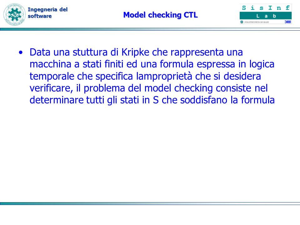 Ingegneria del software Model checking CTL Data una stuttura di Kripke che rappresenta una macchina a stati finiti ed una formula espressa in logica temporale che specifica lamproprietà che si desidera verificare, il problema del model checking consiste nel determinare tutti gli stati in S che soddisfano la formula