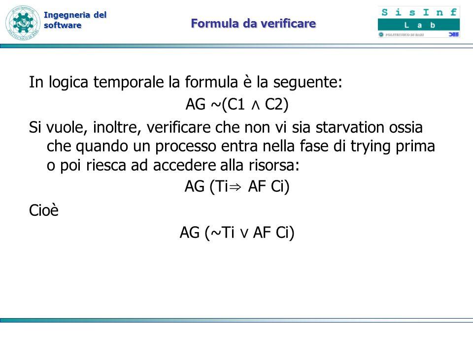 Ingegneria del software Formula da verificare In logica temporale la formula è la seguente: AG ~(C1 C2) Si vuole, inoltre, verificare che non vi sia starvation ossia che quando un processo entra nella fase di trying prima o poi riesca ad accedere alla risorsa: AG (Ti AF Ci) Cioè AG (~Ti AF Ci)