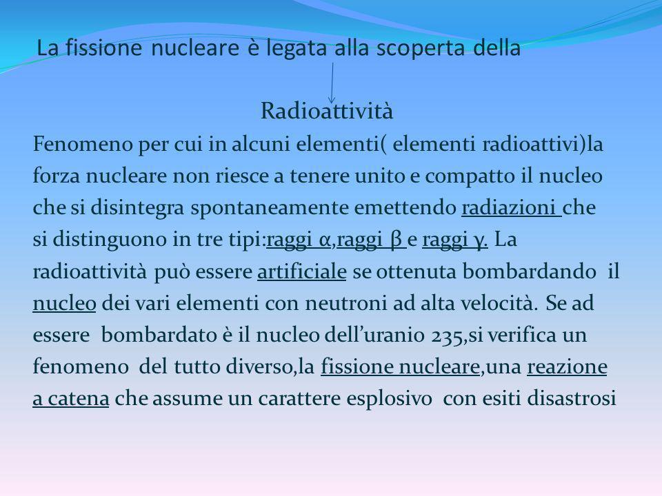 La fissione nucleare è legata alla scoperta della Radioattività Fenomeno per cui in alcuni elementi( elementi radioattivi)la forza nucleare non riesce