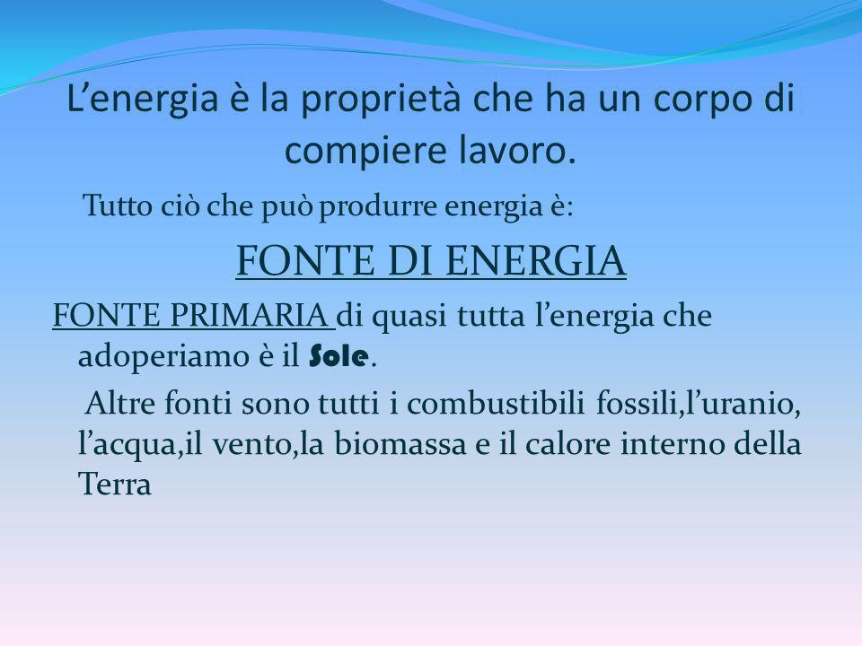 Lenergia è la proprietà che ha un corpo di compiere lavoro. Tutto ciò che può produrre energia è: FONTE DI ENERGIA FONTE PRIMARIA di quasi tutta lener