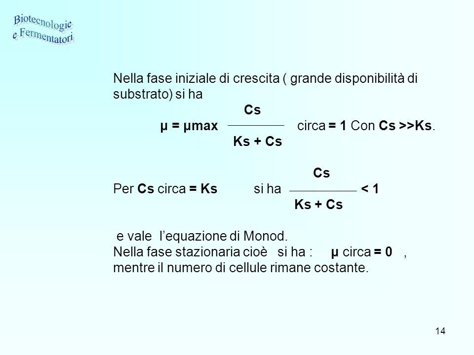 14 Nella fase iniziale di crescita ( grande disponibilità di substrato) si ha Cs μ = μmax circa = 1 Con Cs >>Ks. Ks + Cs Cs Per Cs circa = Ks si ha <