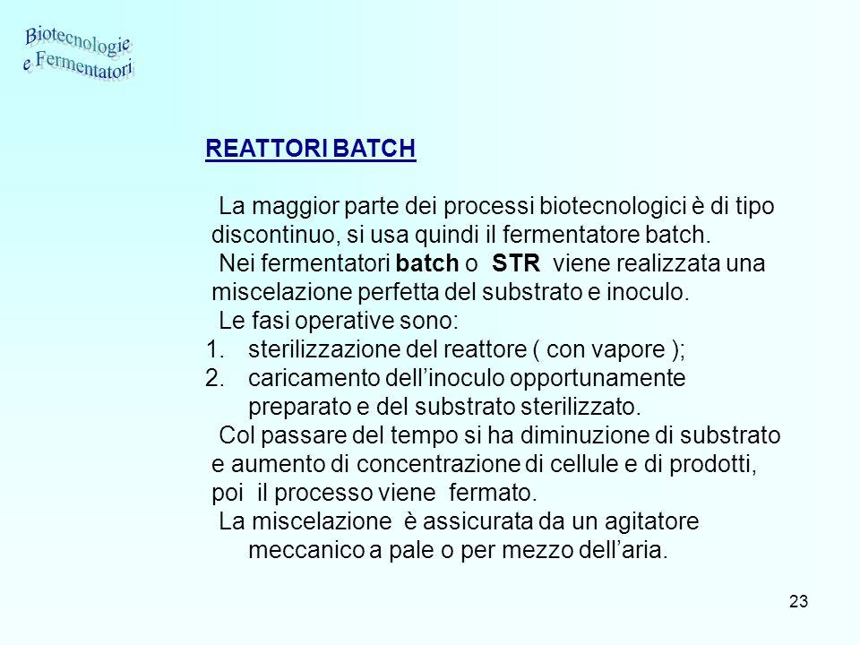 23 REATTORI BATCH La maggior parte dei processi biotecnologici è di tipo discontinuo, si usa quindi il fermentatore batch. Nei fermentatori batch o ST