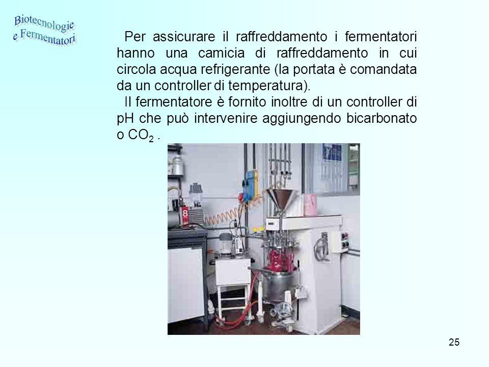 25 Per assicurare il raffreddamento i fermentatori hanno una camicia di raffreddamento in cui circola acqua refrigerante (la portata è comandata da un
