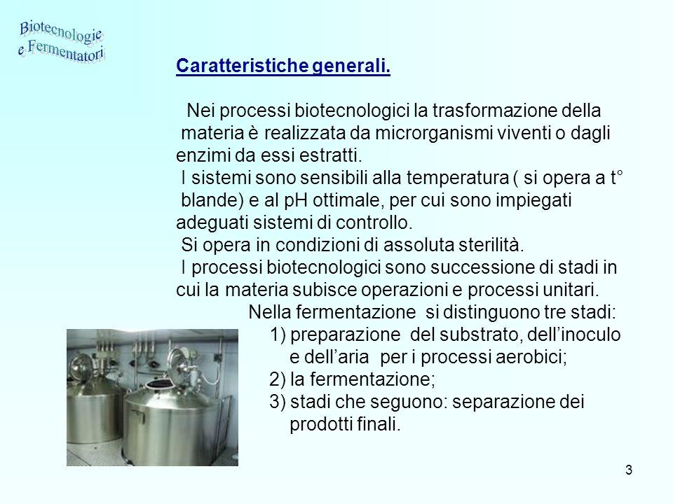 3 Caratteristiche generali. Nei processi biotecnologici la trasformazione della materia è realizzata da microrganismi viventi o dagli enzimi da essi e