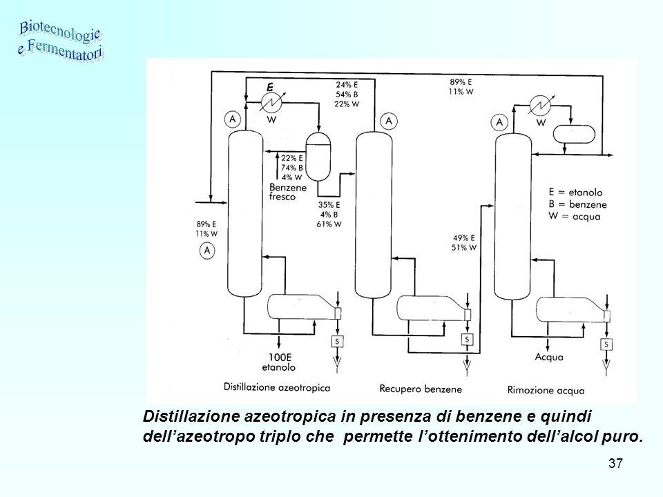 37 Distillazione azeotropica in presenza di benzene e quindi dellazeotropo triplo che permette lottenimento dellalcol puro.