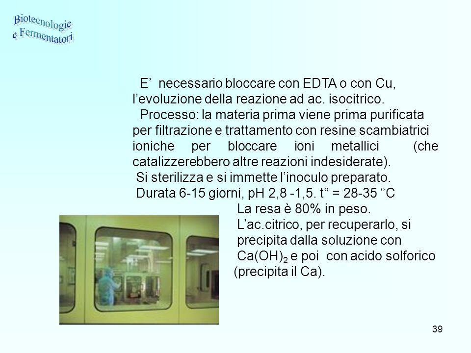 39 E necessario bloccare con EDTA o con Cu, levoluzione della reazione ad ac. isocitrico. Processo: la materia prima viene prima purificata per filtra