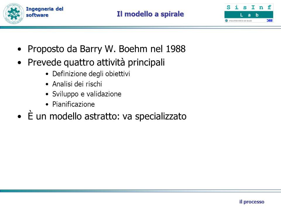 Ingegneria del software il processo Il modello a spirale Proposto da Barry W. Boehm nel 1988 Prevede quattro attività principali Definizione degli obi