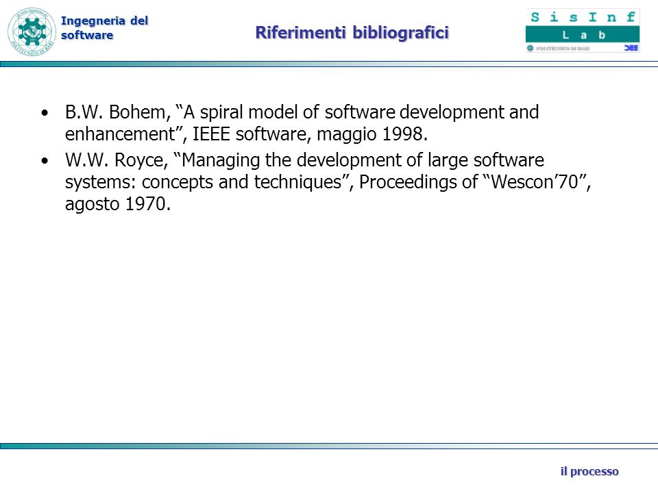 Ingegneria del software il processo Riferimenti bibliografici B.W. Bohem, A spiral model of software development and enhancement, IEEE software, maggi
