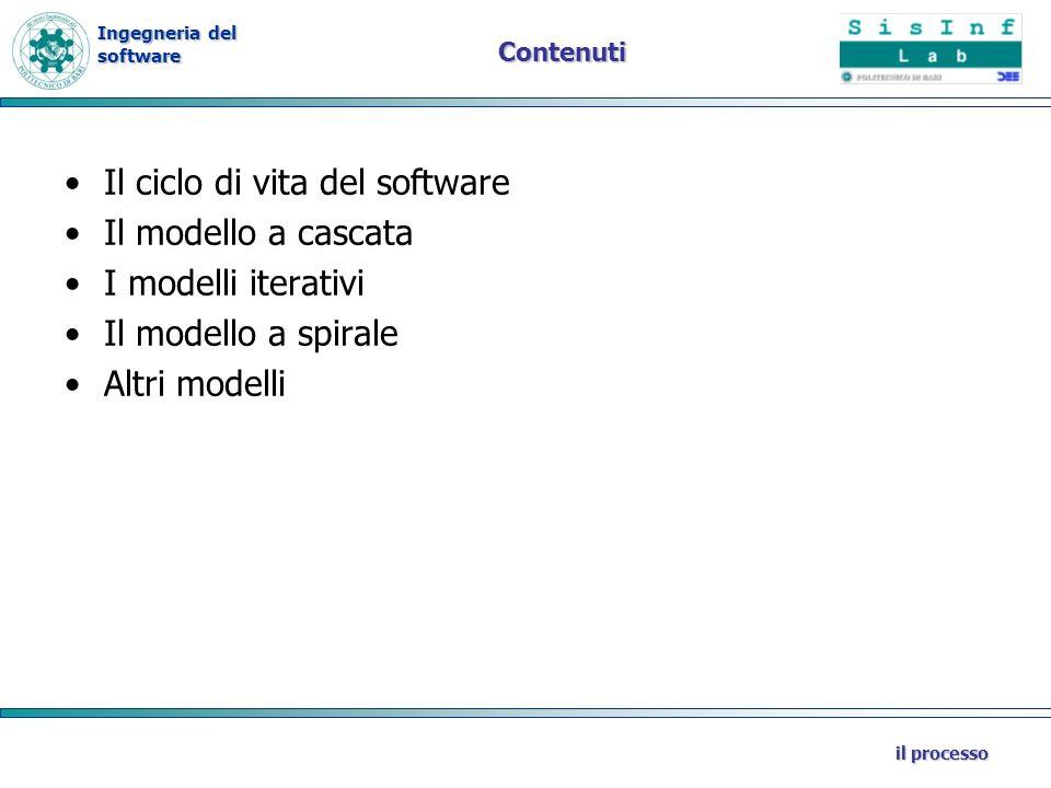 Ingegneria del software il processo Contenuti Il ciclo di vita del software Il modello a cascata I modelli iterativi Il modello a spirale Altri modell