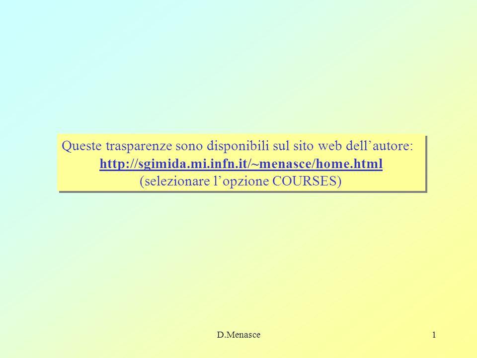 D.Menasce1 Queste trasparenze sono disponibili sul sito web dellautore: http://sgimida.mi.infn.it/~menasce/home.html (selezionare lopzione COURSES) Queste trasparenze sono disponibili sul sito web dellautore: http://sgimida.mi.infn.it/~menasce/home.html (selezionare lopzione COURSES)