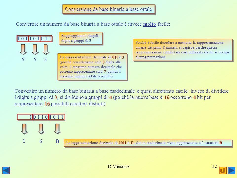 D.Menasce11 Conversione da base binaria a base decimale e viceversa Convertire un numero da base binaria a base decimale è relativamente facile: 1 0 1 1 0 1 0 1 1 = 1x201x20 + 1 x 2 1 0 1 + 0 x 2 2 2 + 1 x 2 3 + 0 x 2 4 + 1 x 2 5 + 1 x 2 6 + 0 x 2 7 + 1 x 2 8 8 7 6 5 4 3 2 1 0 = 1 + 2 + 0 + 8 + 0 + 32 + 64 + 0 + 256 = 363 Viceversa, convertire un numero da base decimale a base binaria è un pò più complicato: 2 1) Si cerca la potenza di 2 più vicina, per difetto, al numero decimale da convertire, 8 256512363 in questo caso 8 ( 2 8 = 256, mentre 2 9 = 512 > 363) 1256363: 363 - 256= 107 2) Si mette da parte un 1 per 1 x 2 8, si sottrae poi 256 da 363: 363 - 256= 107 210764 3) A questo punto si cerca la potenza di 2 più vicina, sempre per difetto, a 107, ossia 64: poichè da 256641280128164 256 a 64 abbiamo saltato 128 (2 7 ), metteremo da parte uno 0 per 2 7 (128) ed un 1 per 2 6 (64) 101101011 4) Proseguendo questo algoritmo iterando i punti 2 e 3 otterremo alla fine 101101011, ossia la 363 rappresentazione binaria di 363 cercata.101101011