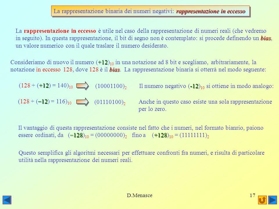 D.Menasce16 complemento a due La rappresentazione binaria dei numeri negativi: complemento a due Il complemento a due è unoperazione analoga al complemento a uno: si inverte il valore di tutti i bit e poi si aggiunge uno al numero ottenuto: se rimane un resto, semplicemente lo si scarta.