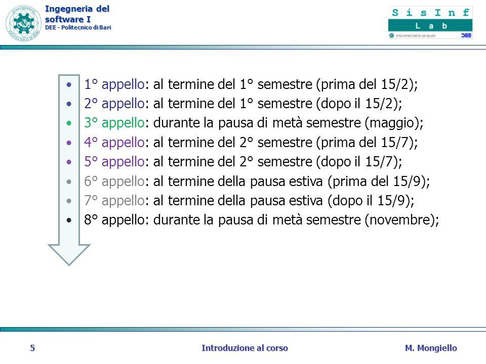 Ingegneria del software I DEE - Politecnico di Bari M. MongielloIntroduzione al corso5 1° appello: al termine del 1° semestre (prima del 15/2); 2° app