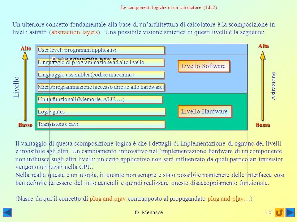 D. Menasce9 Address bus Data bus La versione moderna del modello di John von Neumann (streamlined) La versione moderna del modello descritto prevede l